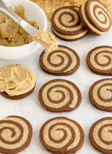 mocha swirl cookies sandwiched with sweet caramel frosting. i need these in my life.: Sweet Caramel, Swirls Cookies, Frostings Recipes, Sprinkles Baking, Sandwiches Cookies, Cookies Recipes, Glaze Recipes, Caramel Frostings, Mocha Swirls
