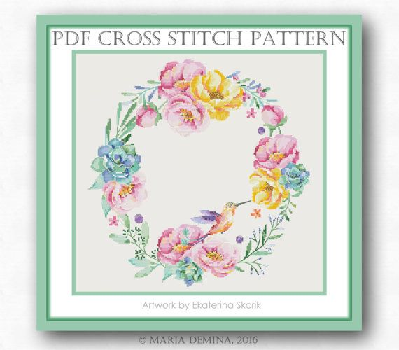 Watercolor Wreath With Flowers And Bird PDF cross stitch