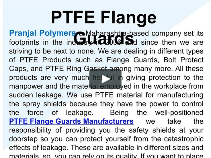 Looking for PTFE Flange Guards Manufactuirers , Visit: pranjalpolymers.co.in/ptfe-flange-guards.html, Pranjal Polymers a Maharashtra-based company, which is also recognized as PTFE Ring Gasket Manufacturers, suppliers, and exporters in India, engaged in offering this product worldwide.