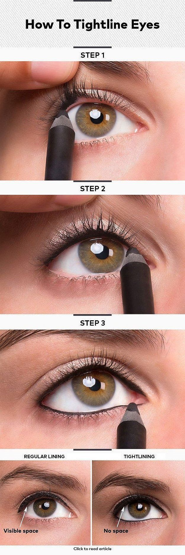 Tightlining 101: Make Your Eyes Bigger & Lashes Thicker, check it out at http://makeuptutorials.com/tightlining-makeup-tutorials/