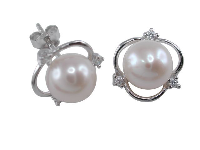 Sterling Silver 8mm White Freshwater Pearl & White Cubic Zirconia 12mm Stud Earrings