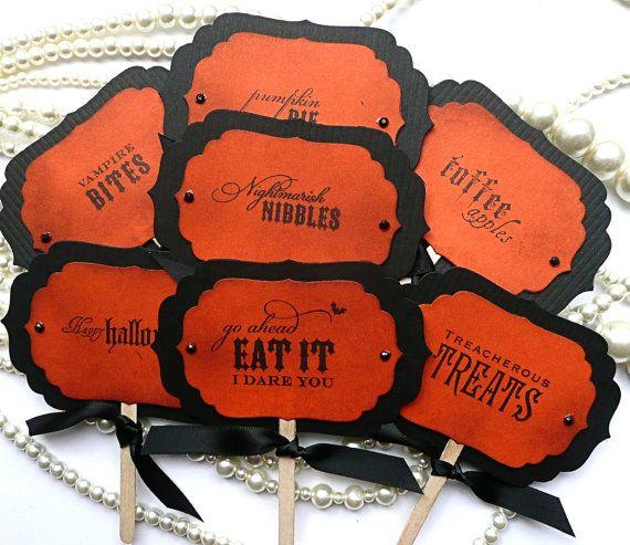 Halloween Candy Buffet Picks  Vintage Orange   Set of by amaretto, $10.50