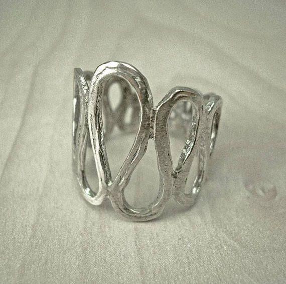 Silver snake ring,sterling silver ring,contemporary silver ring,hammered silver ring,wave ring,curved ring,statement ring,boho silver ring.