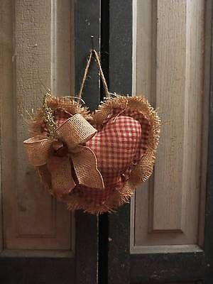 Primitive Grungy Valentine Heart Cupboard Hanger Sweet Annie Burlap Homespun
