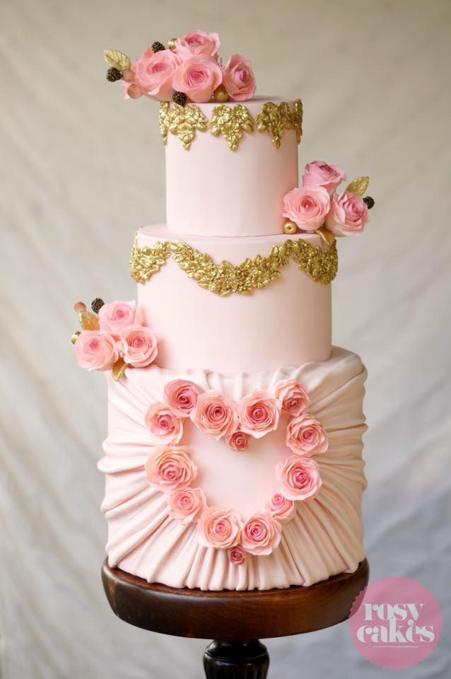 Blush and gold wedding cake with wafer paper flowers and ruching technique - by Rosy Cakes