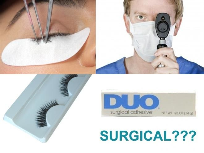 "Read about the Myths and Facts surrounding the term ""SURGICAL GLUE"" for false eyelashes. Also learn more about HAZARDOUS CHEMICALS in cosmetics used by popular false eyelash glue brands, and how knowing this may influence your choice of whether applying false eyelashes yourself at home or visiting a certified eyelash technician at a professional salon for a set of mink eyelash extensions."