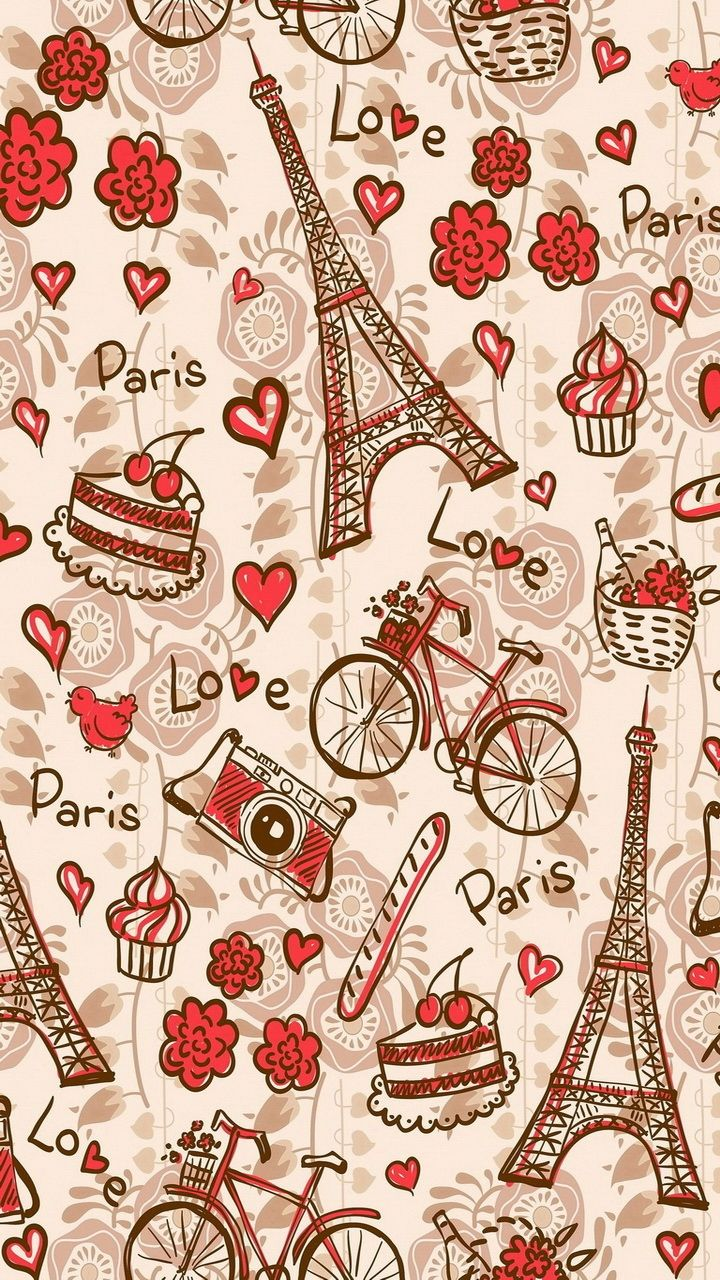 Paris Love. Tap to see more Lovely Pattern backgrounds for iPhone wallpapers! #PrayForParis - @mobile9