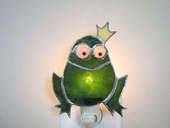 Frog Stained Glass Night Light Green Nursery by FleetingStillness, #CGGE