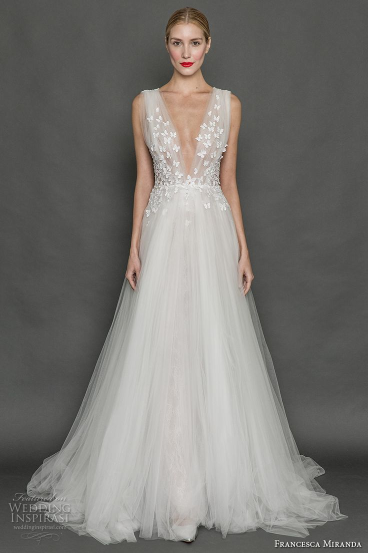 Best FRANCESCA MIRANDA fall bridal sleeveless thick strap deep v neck heavily embellished bodice butterfly embroidery