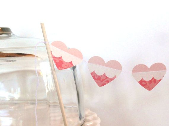 Dark and Light Pink Paper Heart Garland Cake Bunting by ShastaBlue, $3.00