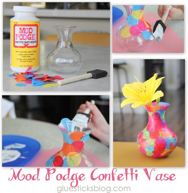 Easy Mod Podge Confetti Vase ---- Kinda gaudy but with the right colors it can look really good.