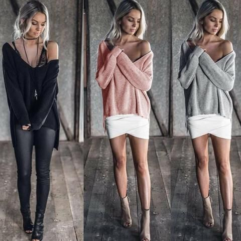Loose Knitted Off Shoulder Long Sleeve