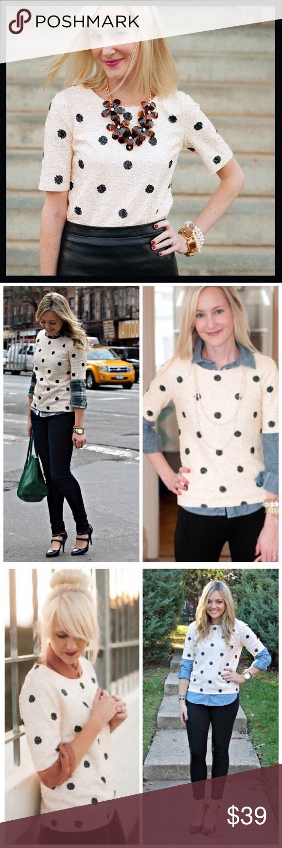 j. crew // sequin polka dot short sleeve tee cream Two of our great loves—sequins and dots—are combined in one top that we're utterly wild about. Our design team carefully configured thousands of small sequins in a light yet dense layout to create a texture with a beautiful drape, then hand-finished the neckline and seams. Great preowned condition. From J. Crew Factory. This is a must have for any J. Crew addict! J. Crew Tops Blouses