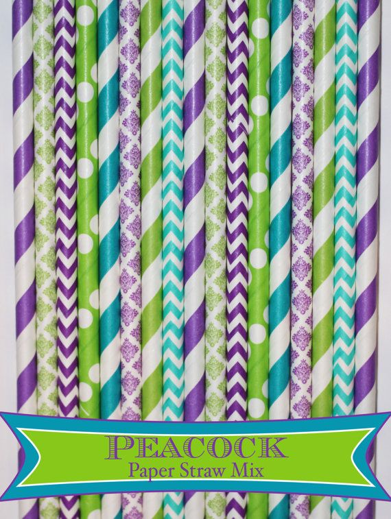 50 Peacock Mix PAPER STRAWS wedding birthday by PartyDelights
