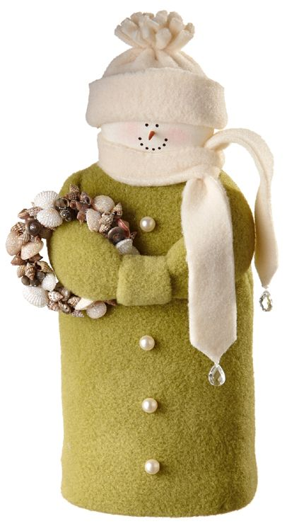 """Hearts and Ivy Collection - 9"""" Snowman - Light Green with Shell Wreath - Wooden Duck Shop"""