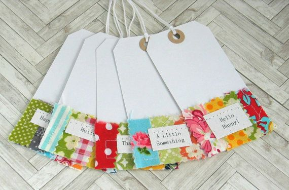 CLEARANCE SALE  Sewn Fabric Tags Set of 5 by thejellybeanstudio