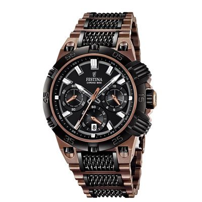 This is a LIMITED EDITION (Limited to 10,000 pieces) Festina watch to celebrate the Tour De France 2014. It costs £465 and has a bronze coloured bracelet/details with Mineral Crystal Glass and both Chronograph and Date function. The bracelet has been specially designed to look like a bike chain.