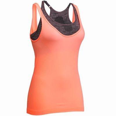 Canotte Abbigliamento fitness,Danza - Canotta donna ACTIZEN arancio DOMYOS - Abbigliamento Palestra