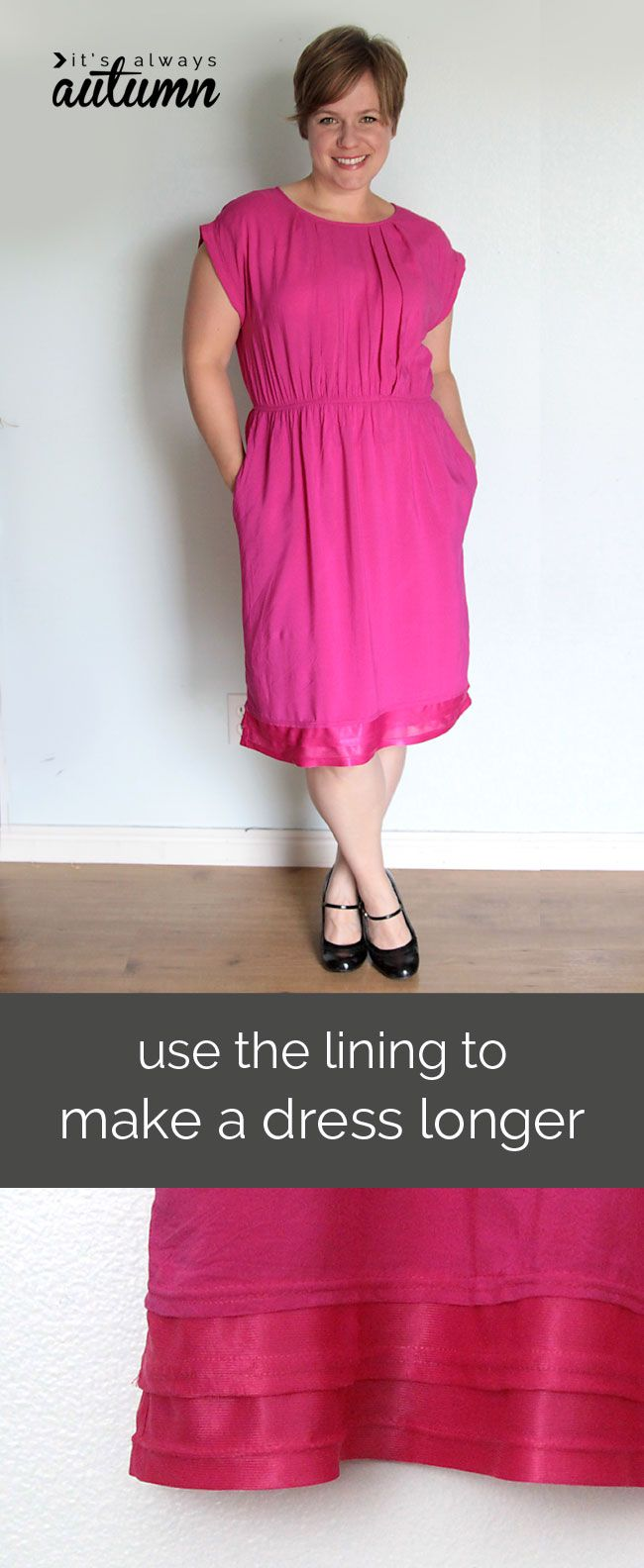 PIN FOR LATER - Learn how to instantly make a dress longer with this easy trick!