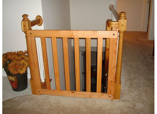 White Oak Banister Baby Gate Stair Rails And Banisters