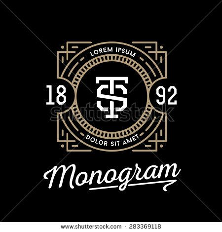 classic art deco luxury linear monochrome golden minimal hipster geometric vintage vector monogram, frame , border , label  for your logo badge or crest - stock vector