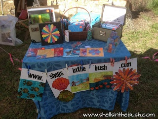 Use your gelli prints to make a banner for your table at your art sale/booth - Michelle Reynolds.