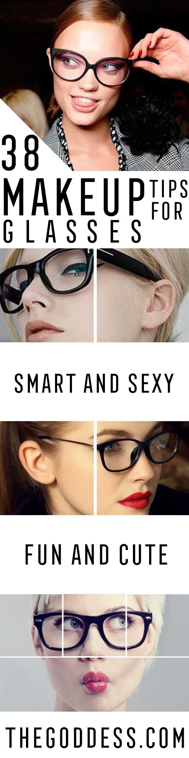 Makeup Tips For Glasses - Simple Step by Step Tutorials for People with Eye Glasses - Easy Beauty Tips for Different Face Shapes, Make Up Ideas and Awesome Hairstyles for Different Types of Eyeglasses - Eyeliner, Foundation, and Nail Art Ideas that Go Great with Lots of Different Looks - thegoddess.com/makeup-tips-for-glasses