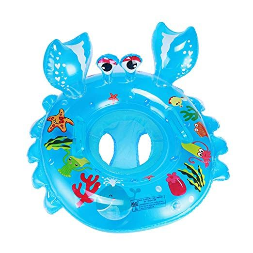 baby blow up ring chair christmas covers blue inflatable pool float infant crab seat boat swim with handles safety swimming raft summer water fun toys for family beach bath