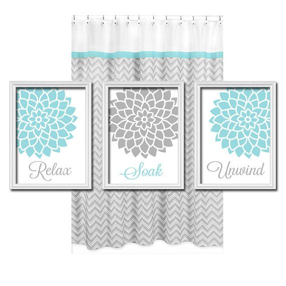 Relax Soak Unwind  Grey Gray Teal Blue  Flourish by trmDesign, $30.00