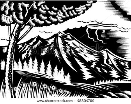 vector illustration of a mountain scene with tree and clouds done in retro woodcut style. #landscape #woodcut #illustration