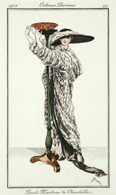 DRIAN// French Fashion Plates : Plate 25. Grand Manteau De Chinchilla at Davidson Galleries