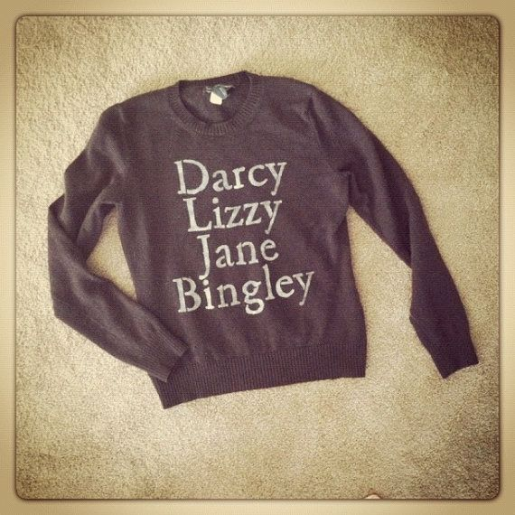 Pride and Prejudice characters sweater $19.00, via Etsy
