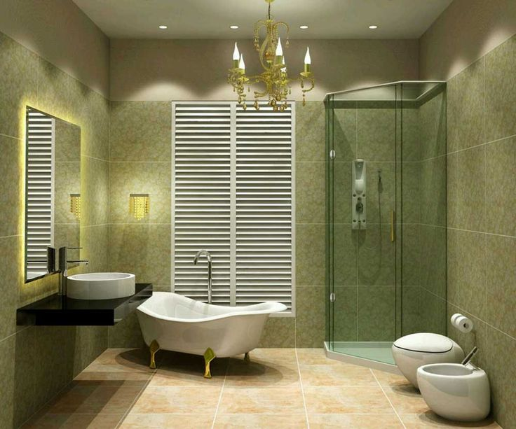 Small Modern Bathroom Design Ideas with small glass shower room white ceramic toilet white ceramic bathtub with green iron legs white ceramic floating sink