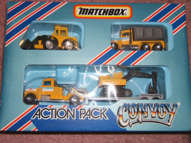 Matchbox Convoy Action Pack CY203 from the 80's with tractor, Peterbilt dump truck, and Peterbilt semi