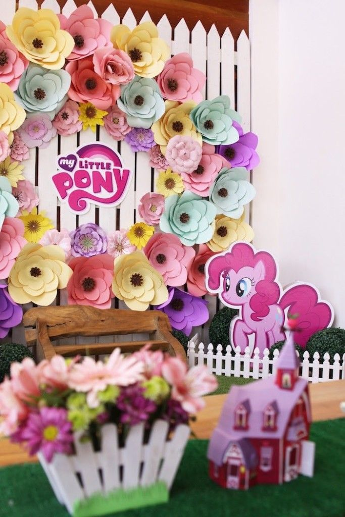 Party backdrop My Little Pony Pastel Birthday Party via Kara's Party Ideas | KarasPartyIdeas.com (25)
