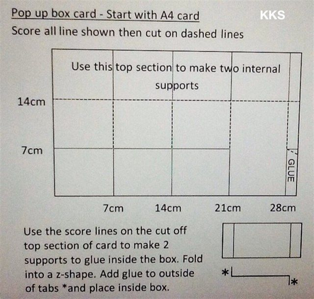 Pop up box card measurements by kks,