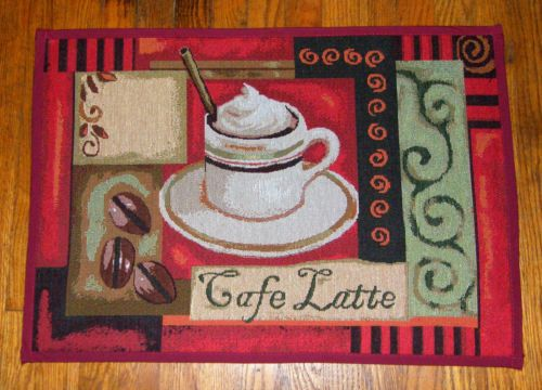 Coffee Bean Cup Cafe Latte Java Accent Tapestry Area Throw Rug Floor Mat  19x28 | EBay. Coffee Theme KitchenThrow ...