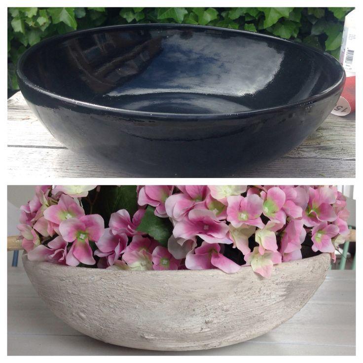 Diy schaal bewerkt met muurvuller en deco verf van de action Diy bowl