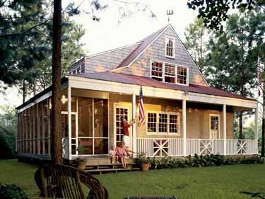The screened-in porch... a requirement ;) Southern Living (HWBDO64372) | Farmhouse House Plan from BuilderHousePlans.com