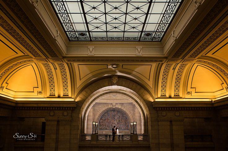 Manitoba Legislative Building.  Popular location for indoor wedding portraits in Winnipeg.