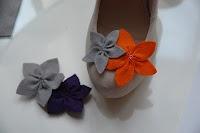 felt flowers shoe clips, love bright orange