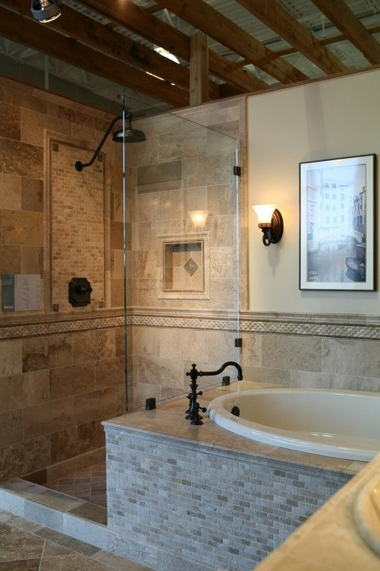 Ideas For Bathrooms, Dream Bathrooms, Bathroom Ideas, Bathroom Tile Designs,  Beautiful Bathrooms, Master Bath Shower, Master Bathroom, Shower Tub, ...