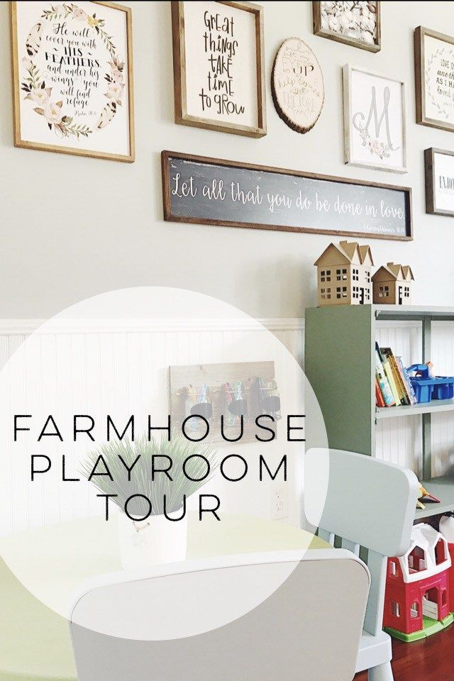 Farmhouse style playroom. A cute way to organize your kids toys.