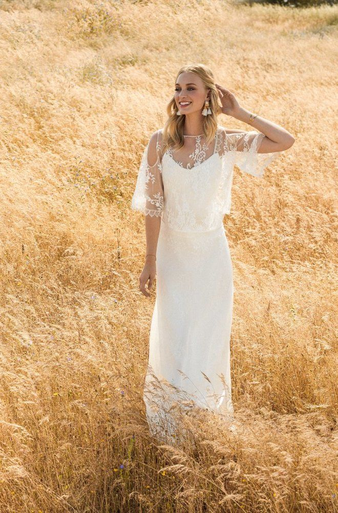 Rembo styling — 2017 Collection — Ody: Lace under chiffon dress with beautiful…