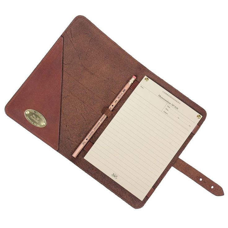 Amazon.com : Col. Littleton No. 20 Travel Leather Business Portfolio Notebook - Brown : Office Products