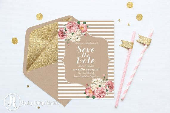 Printable Wedding Save the Date, Floral Wedding, All the Pretty Peonies, Vintage Rustic Style, DIY Printable Invitations Save the Date