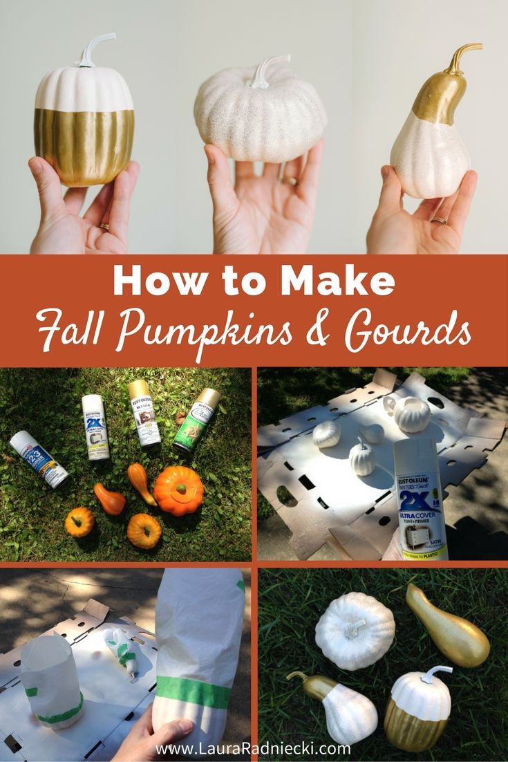 Fall diy decor with DOLLAR STORE pumpkins? YES! Spray paint + dollar store pumpkins and gourds = CUTE, CHEAP Fall Decor!