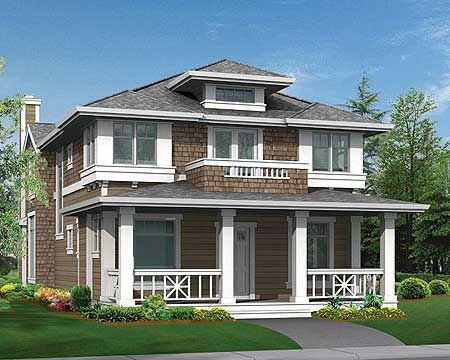 11 best images about craftsman contemporary porches on for Narrow lot craftsman house plans