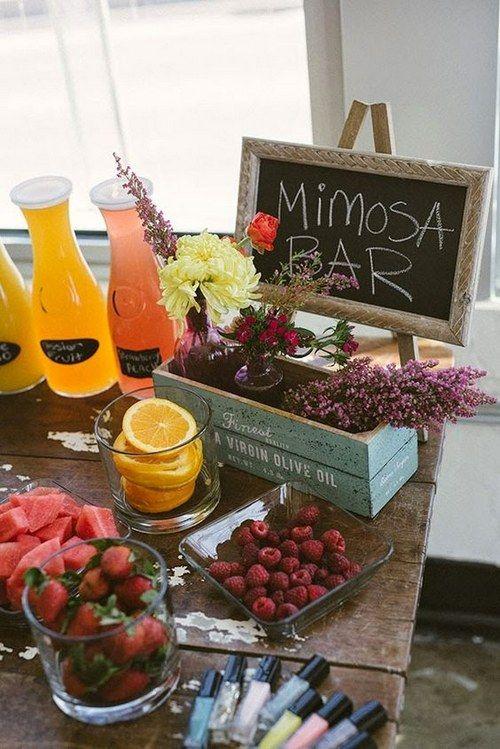 Bridal Bunch Mimosa Bar / http://www.himisspuff.com/creative-rustic-bridal-shower-ideas/8/