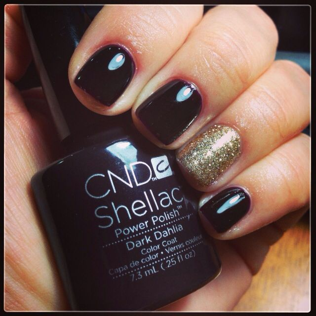 Shellac Dark Dahlia With Champagne Glitter Accent Nails Pinterest Shellac Dahlias And